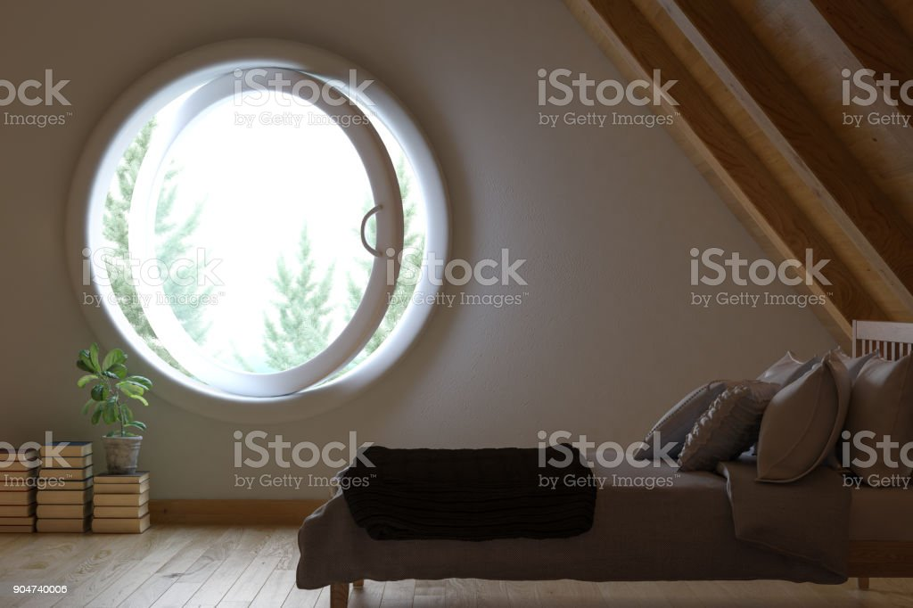 Attic Bedroom stock photo