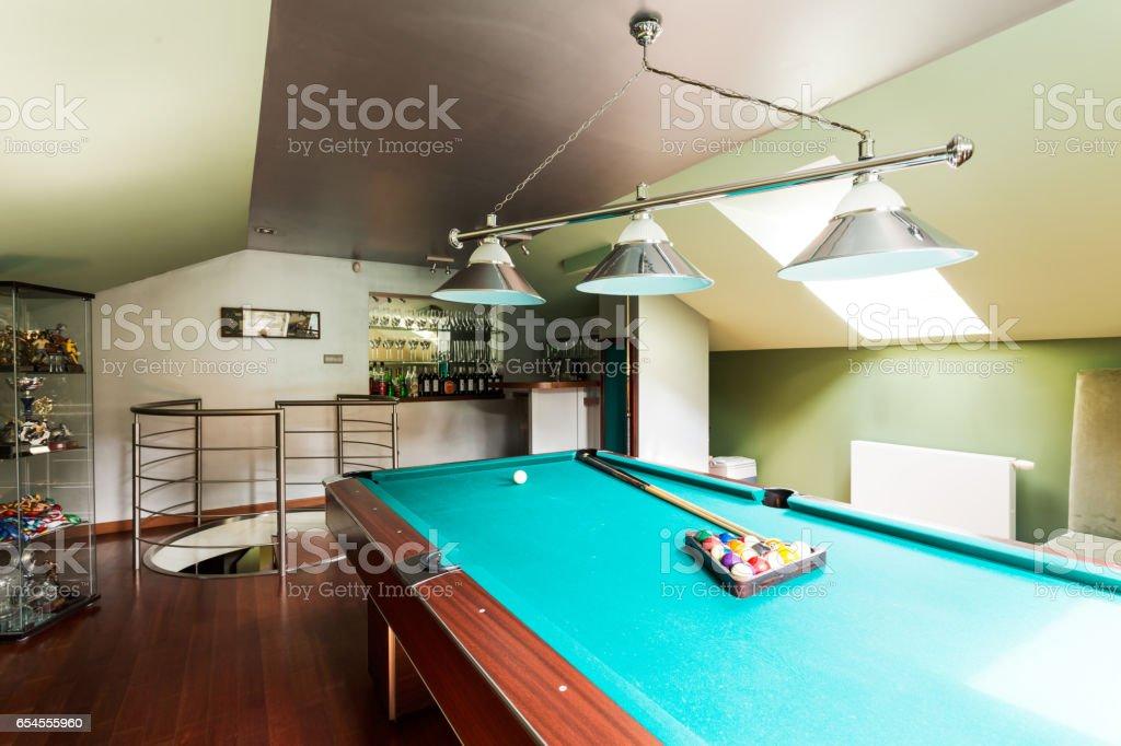 Attic billard room for luxurious men