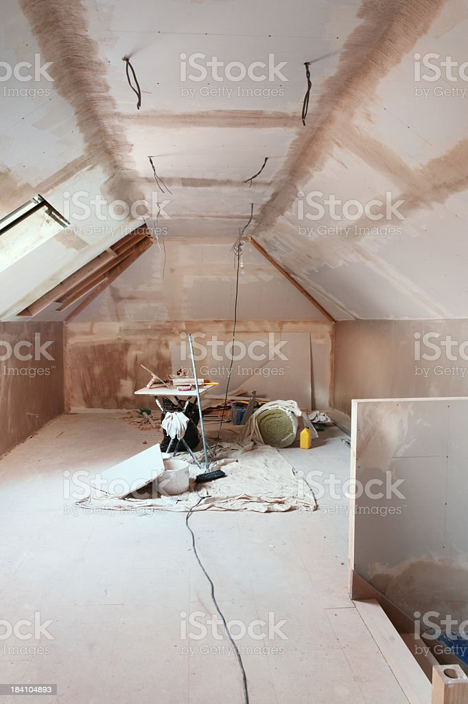 Attic conversion royalty-free stock photo