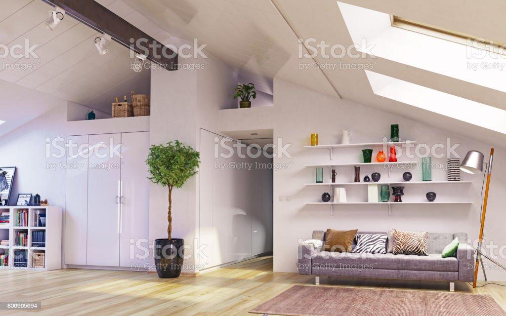 Attic floor design stock photo