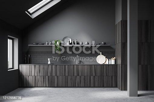 istock Attic gray kitchen interior with countertops 1212558776