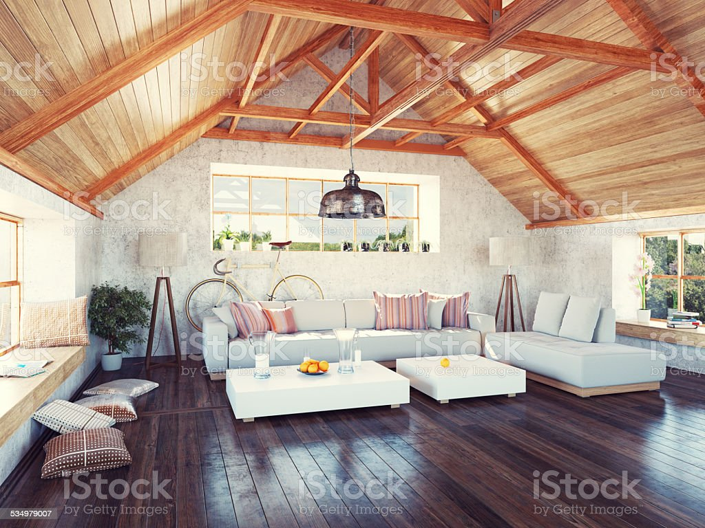 attic interior stock photo