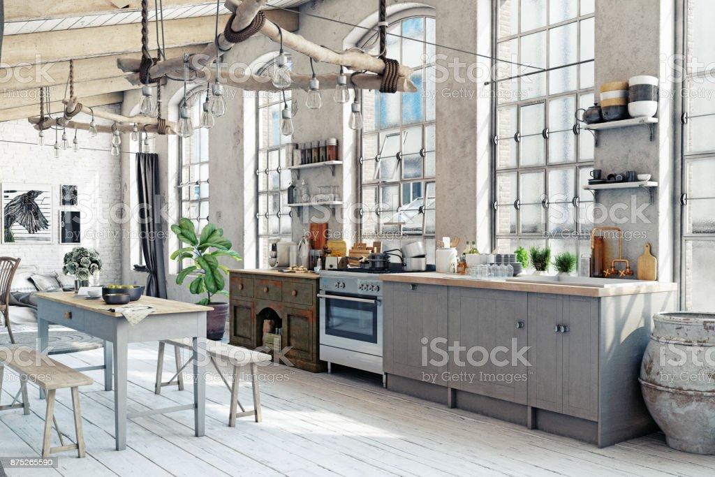 Attic Loft Küche Interieur Stock-Fotografie und mehr Bilder von ...