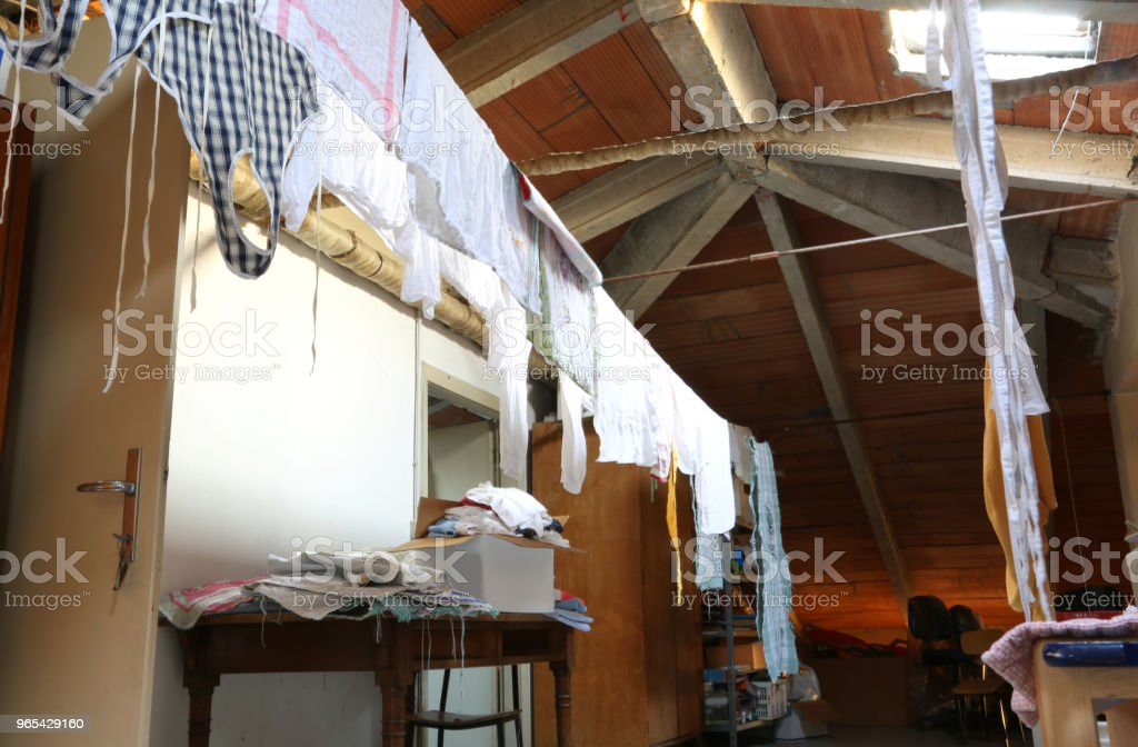 Attic of a kindergarten with  rags and towels zbiór zdjęć royalty-free