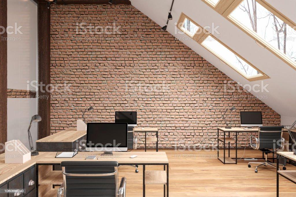 Dachgeschoss Büro Freifläche Mit Balken Glastüren Mauer Parkett ...
