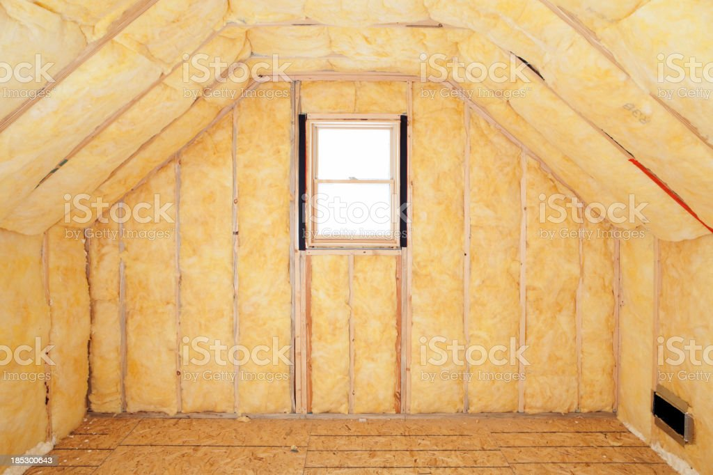 Attic Room Insulation, Frame and Window stock photo