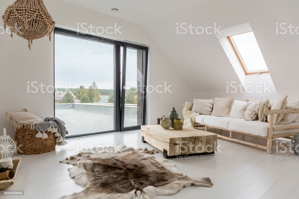 Attic room with balcony stock photo