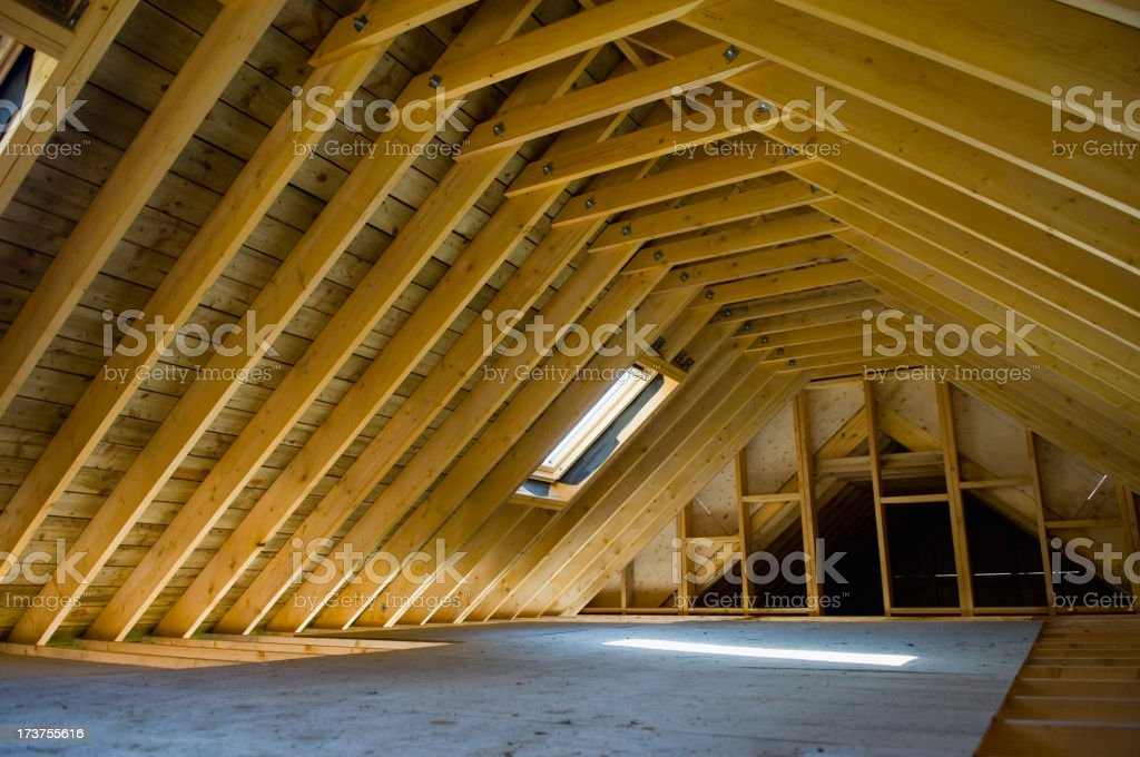 Attic space in newly-built house stock photo