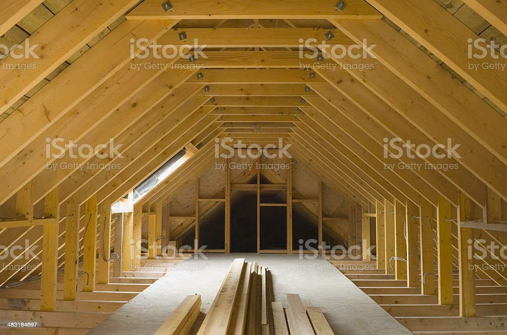 Attic space in newly-built house royalty-free stock photo