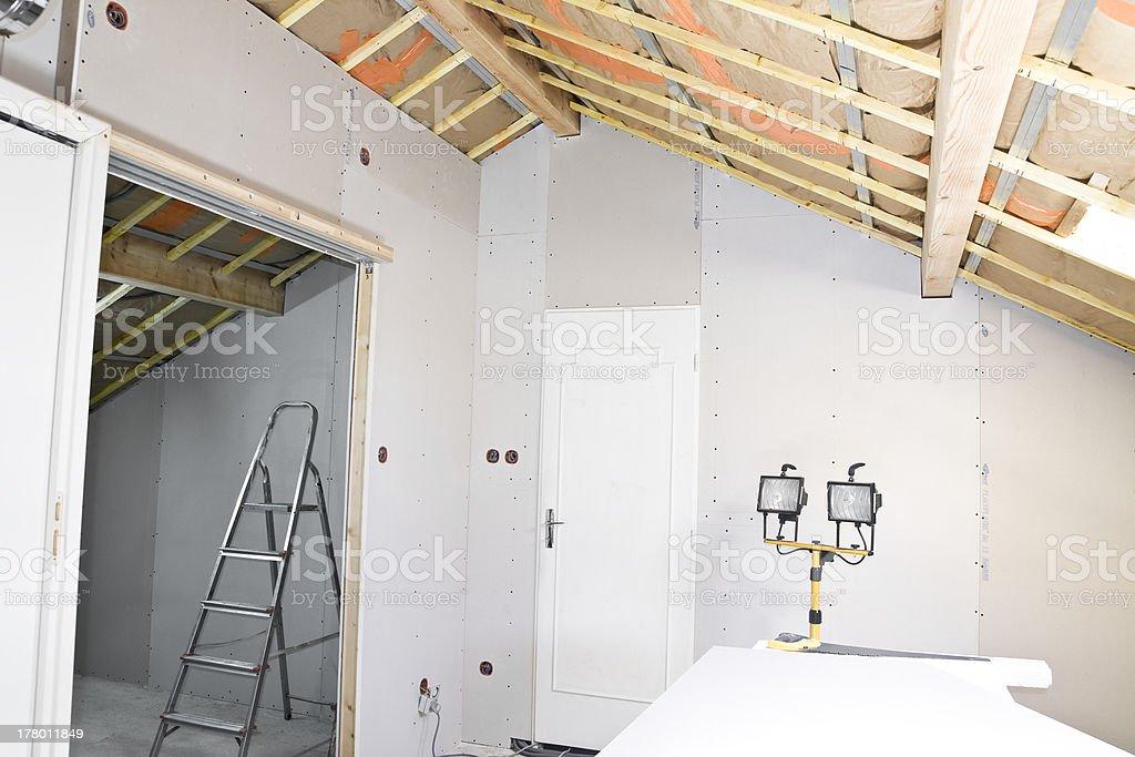 Attic under construction stock photo