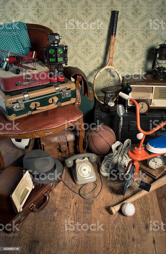 Attic vintage treasures stock photo