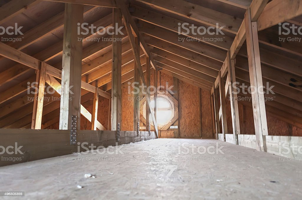 attic wood construction stock photo