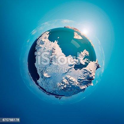 istock Attica Greece 3D Little Planet 360-Degree Sphere Panorama Blue 670766178
