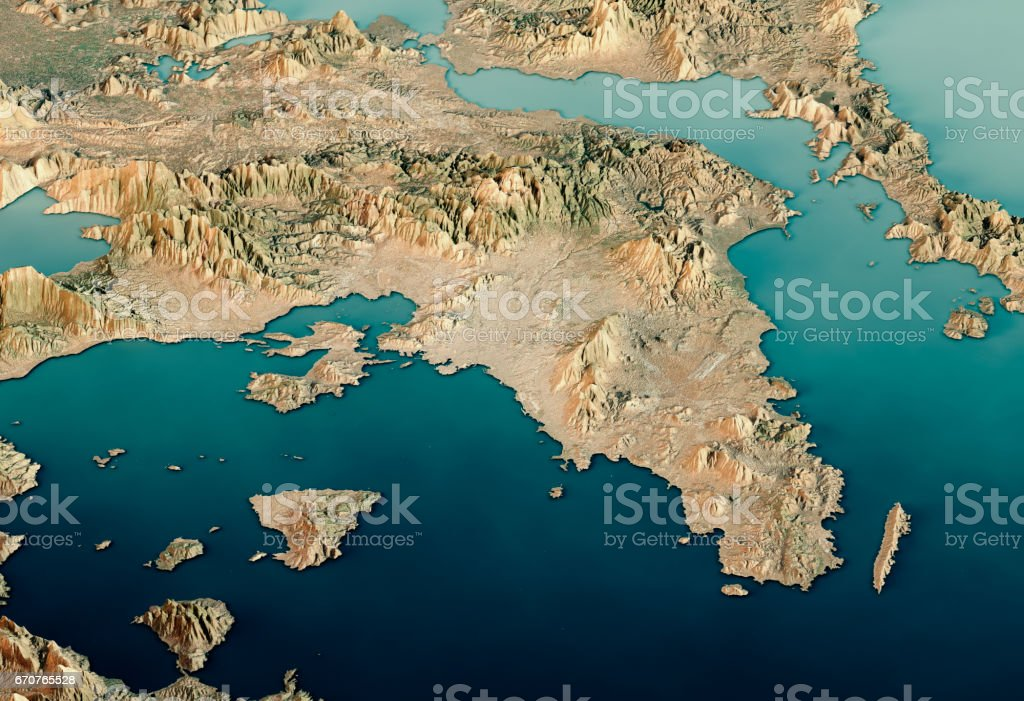 Attica Greece 3d Render Satellite View Topographic Map Horizontal