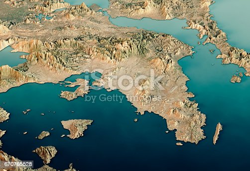 istock Attica Greece 3D Render Satellite View Topographic Map Horizontal 670765528