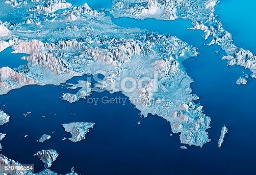istock Attica Greece 3D Render Satellite View Topographic Map Horizontal Blue 670766584