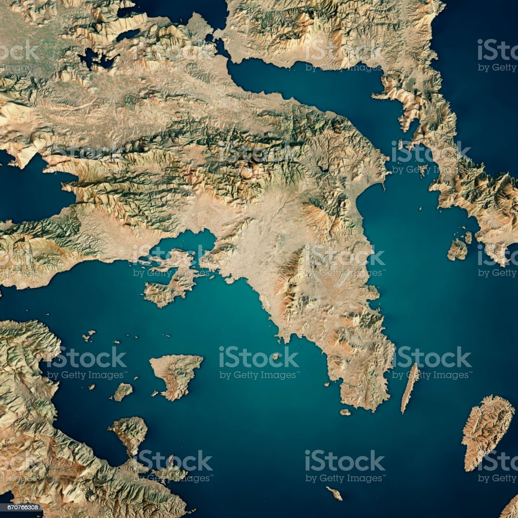 Attica Greece 3d Render Satellite View Topographic Map Stock Photo