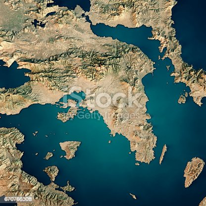 istock Attica Greece 3D Render Satellite View Topographic Map 670766308