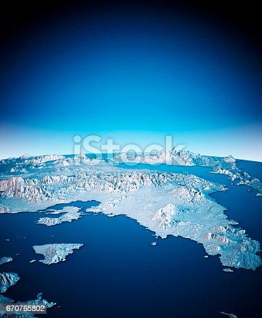 istock Attica Greece 3D Render Satellite View Topographic Map Vertical Blue 670765802