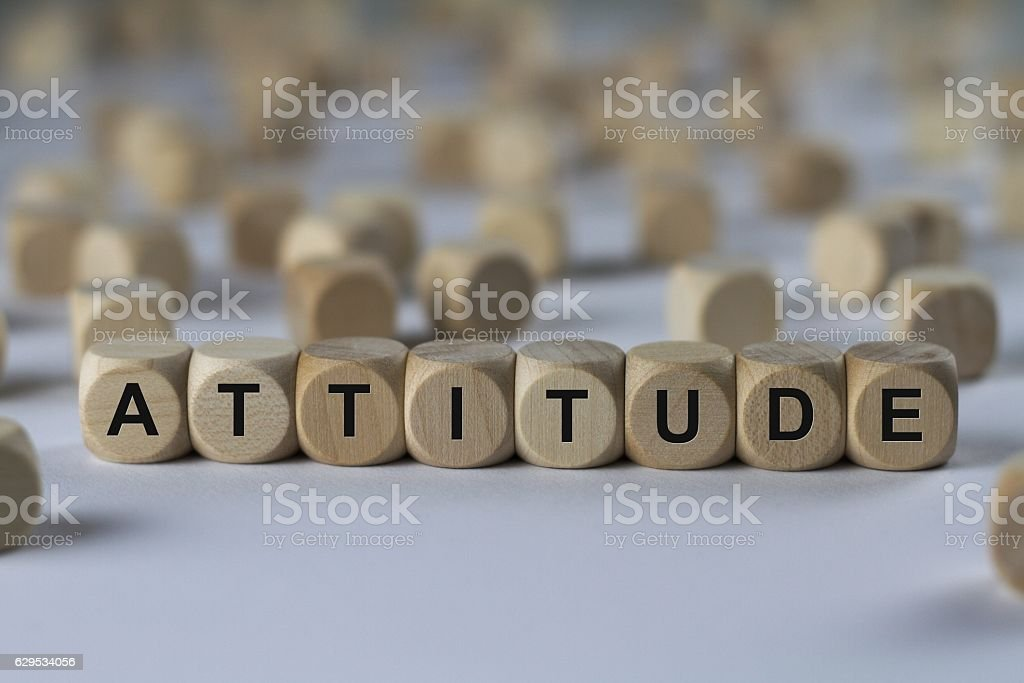 attitude - cube with letters, sign with wooden cubes stock photo