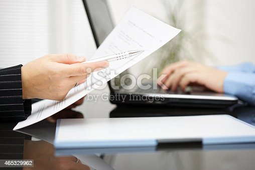 istock Attorney is pointing to treaty article on contract 465329962