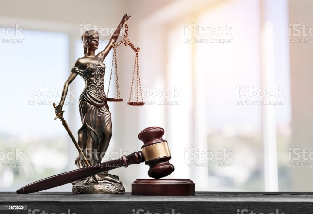 Attorney. Attorney balance advocate antique beautiful blind blindfold Adult Stock Photo