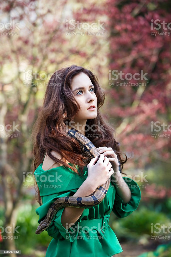 Attracrive girl with snake stock photo