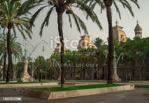 September 8, 2014, Barcelona, Spain. Palm trees in the park at Passeig de Lluis Companys in the capital of Catalonia