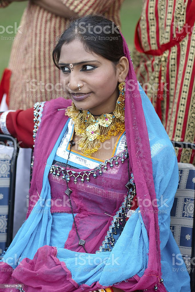 Attractive 19 year old Indian girl in traditional costume royalty-free stock photo