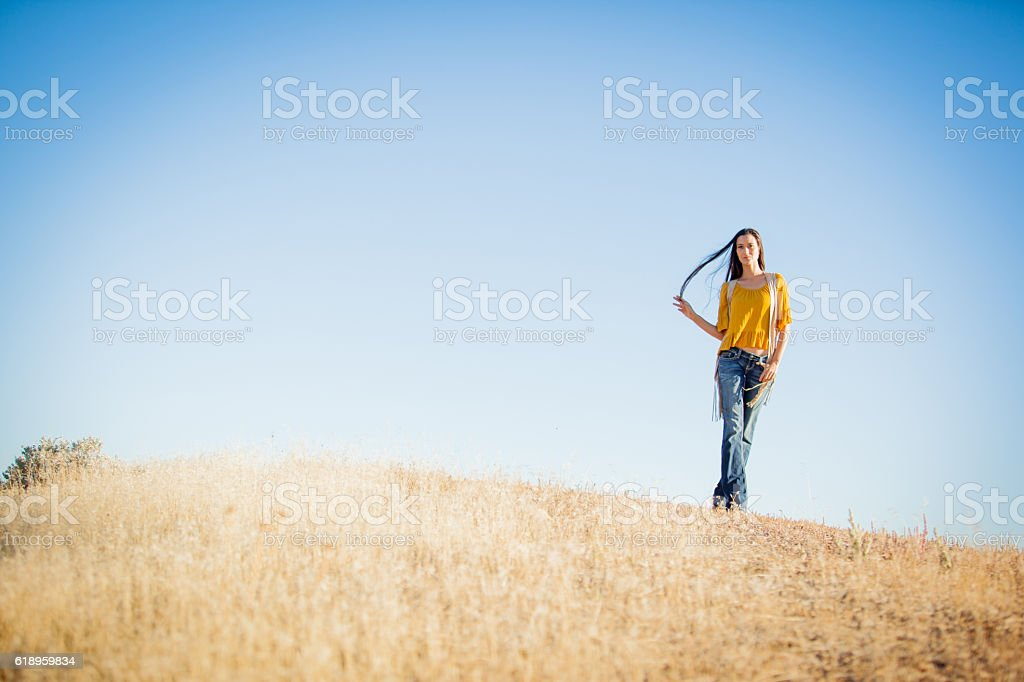 Attractive Adult Mixed Race Female Retro 70s stock photo