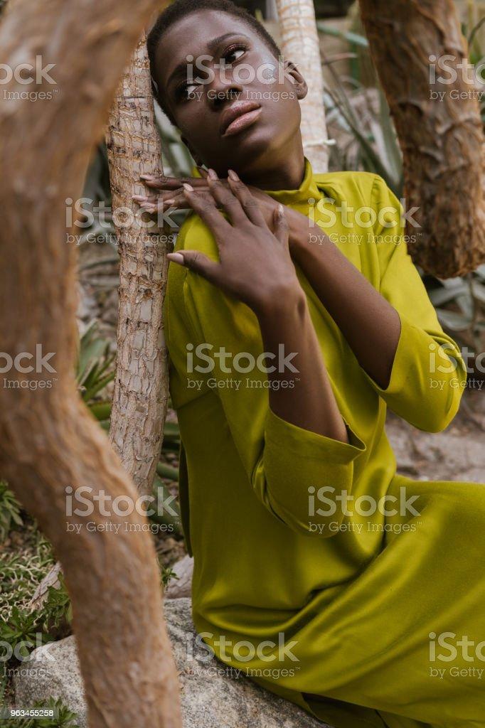 sarı elbiseli poz çekici Afro-Amerikan Kız - Royalty-free Afrika Kökenli Amerikalılar Stok görsel
