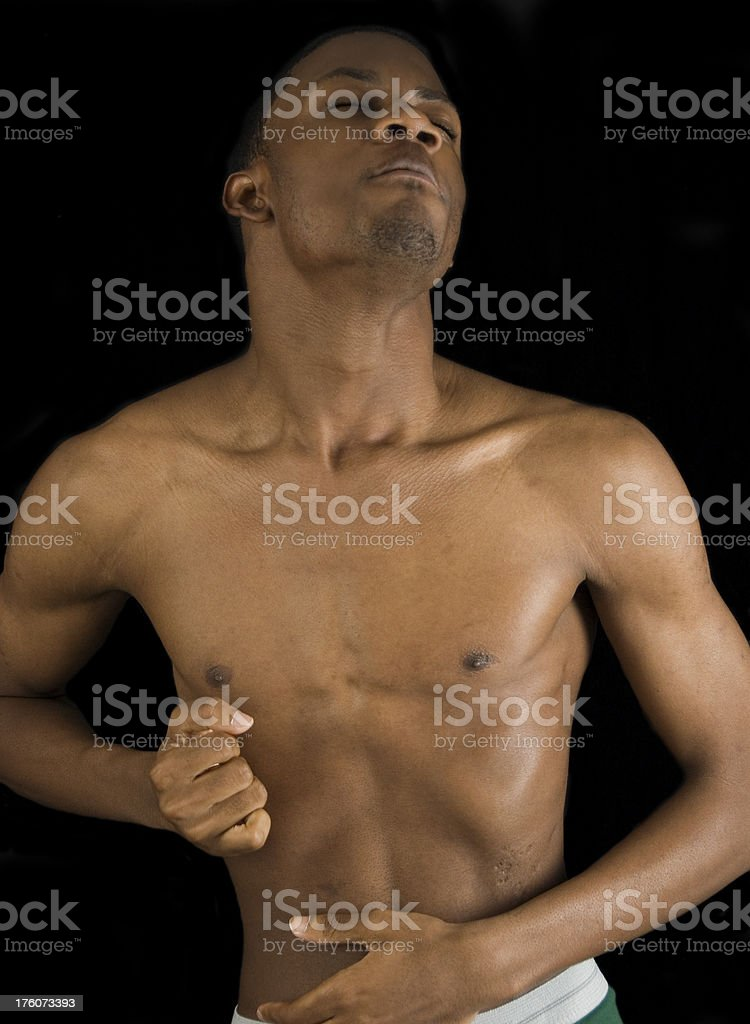 Attractive African American Male Posing in Underwear royalty-free stock photo