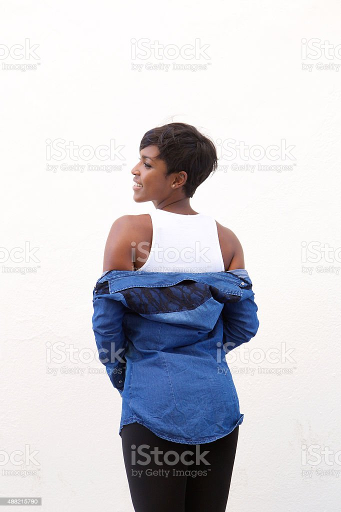 Attractive african american woman from behind stock photo