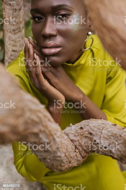 Sarı Elbiseli Poz Glitter Makyaj Çekici Afrikalıamerikalı Kadın Stok Fotoğraflar & Afrika Kökenli Amerikalılar'nin Daha Fazla Resimleri