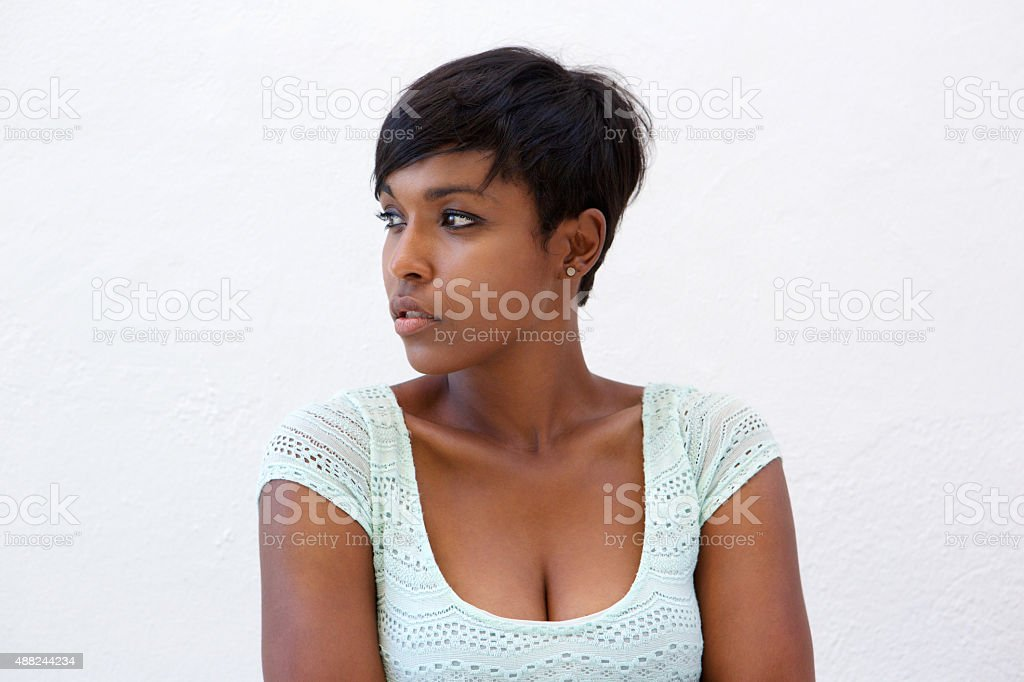 Attractive african american woman with short hairstyle stock photo