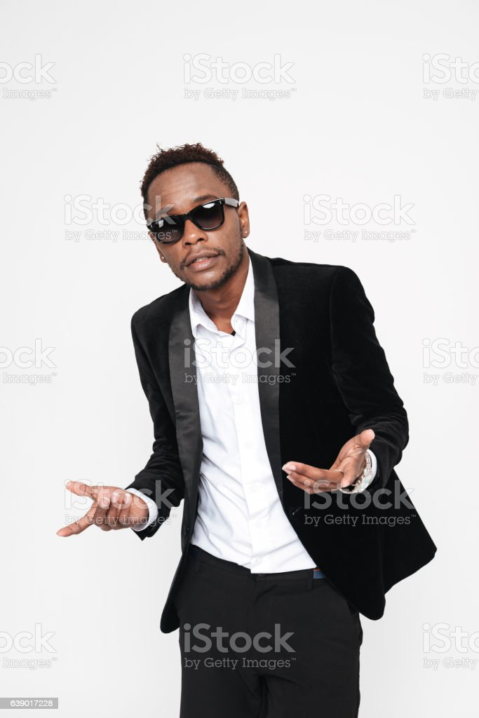 Attractive african businessman wearing glasses. stock photo