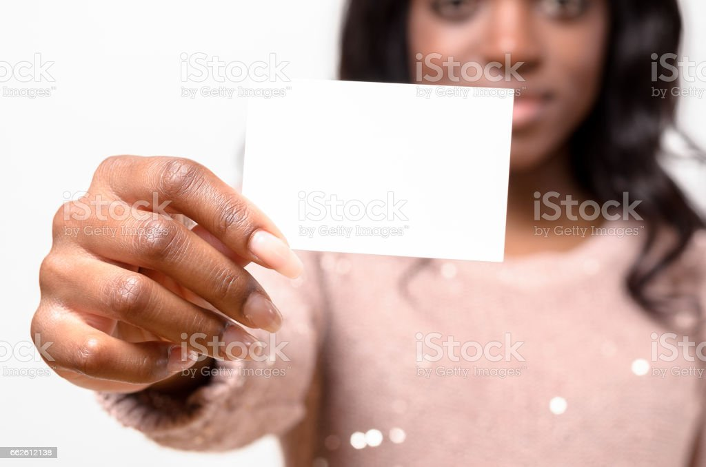 Attractive African woman with her Business card stock photo