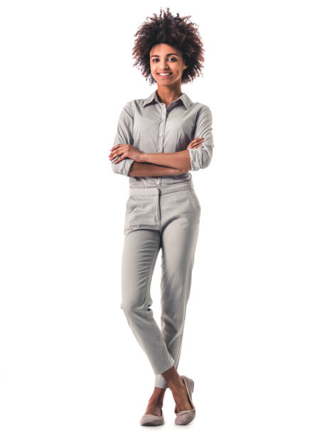 attractive afro american woman - figura intera foto e immagini stock