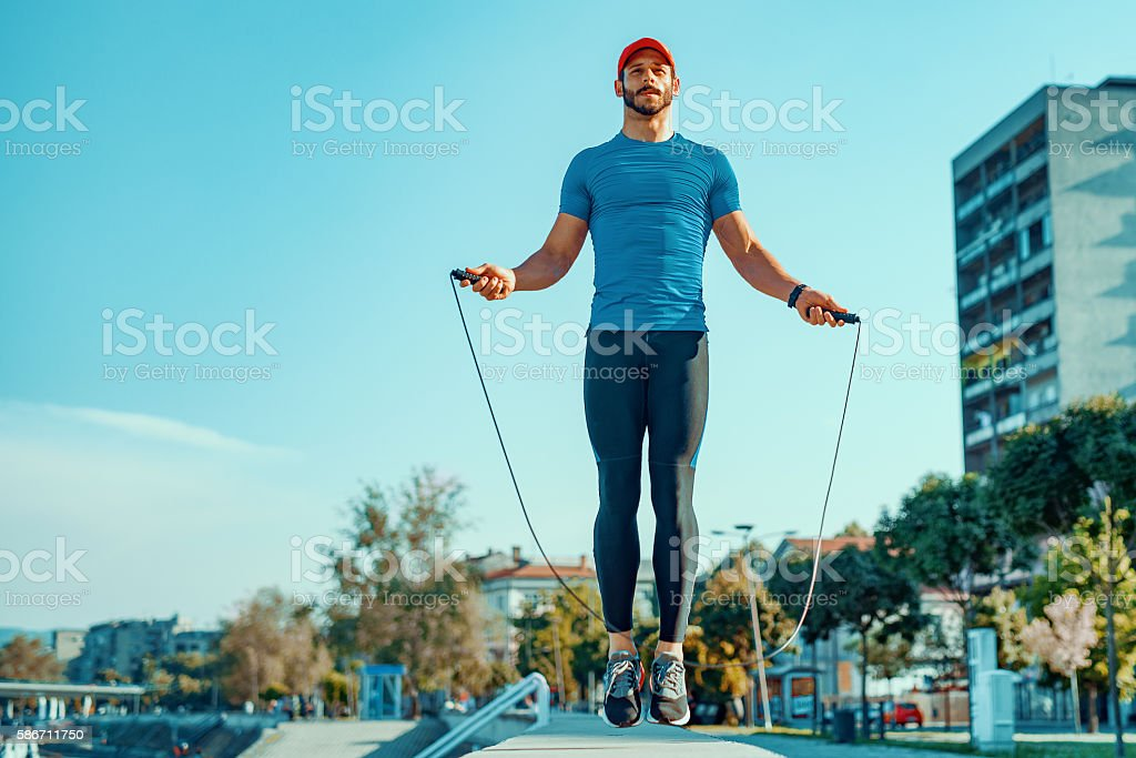 Attractive and muscular athlete stock photo
