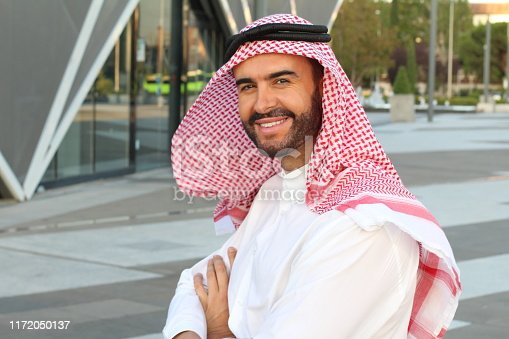 Attractive Arabic man with copy space.