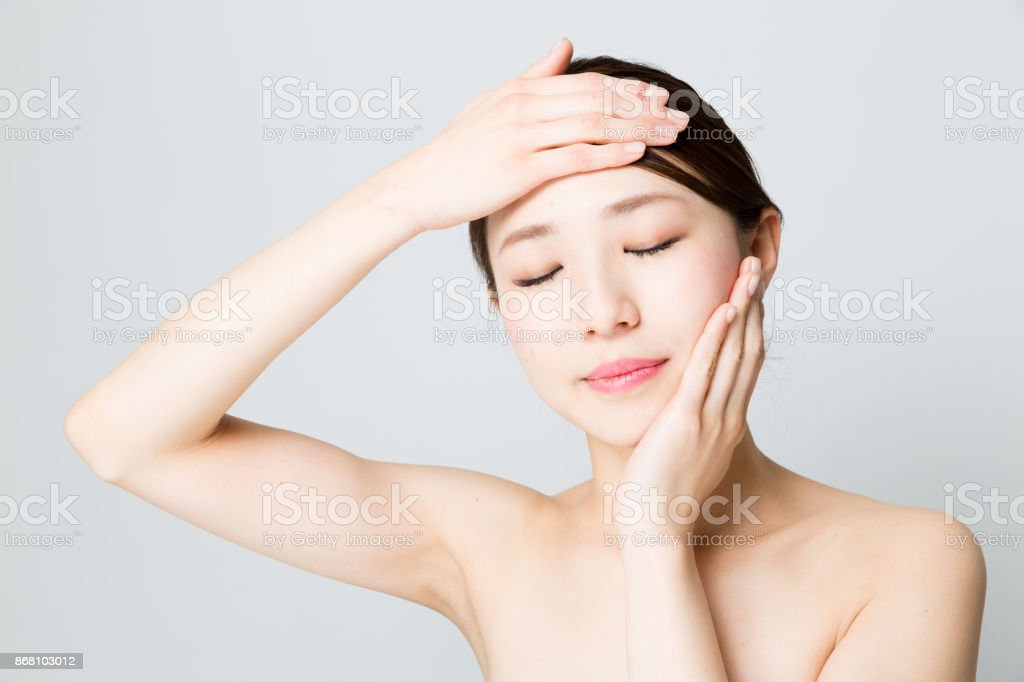 attractive asian woman beauty image isolated n gray background stock photo