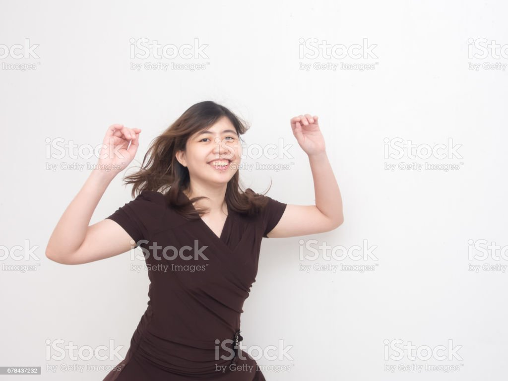 Attractive Asian Woman Jumping stock photo