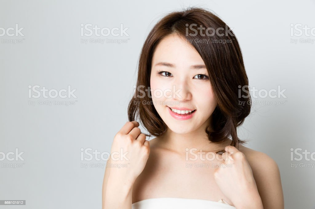 attractive asian woman skincare image isolated on white background stock photo