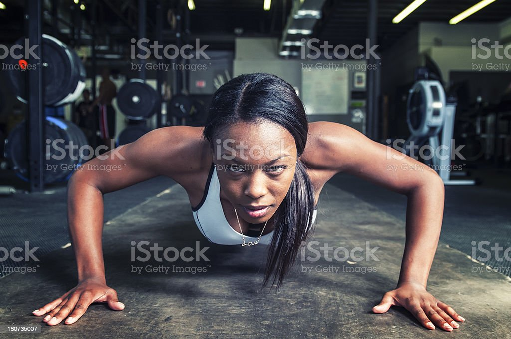 Attractive Athlete doing Pushups stock photo