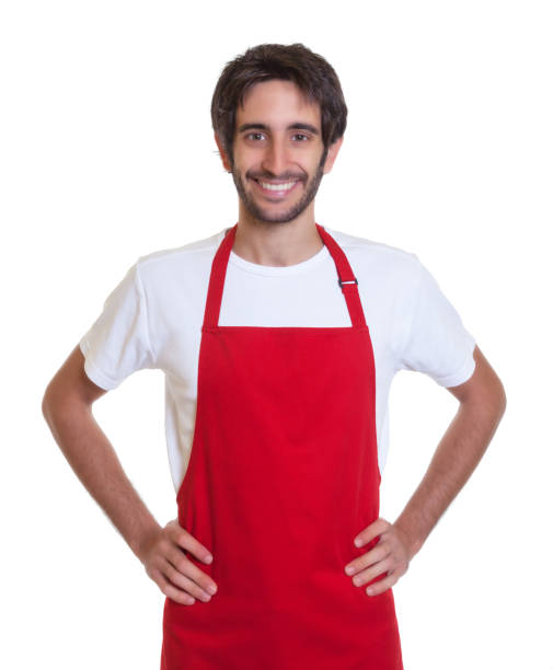 attractive barkeeper laughing at camera - apron stock pictures, royalty-free photos & images