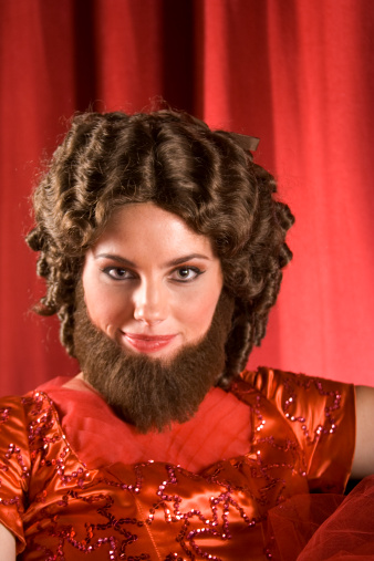 Attractive Bearded Lady In Red Stock Photo - Download Image Now