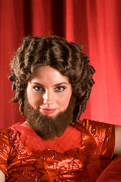 Attractive Bearded Lady In Red stock photo