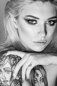 beauty woman portrait monochrome