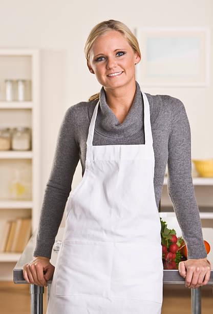 Attractive blond chef stock photo