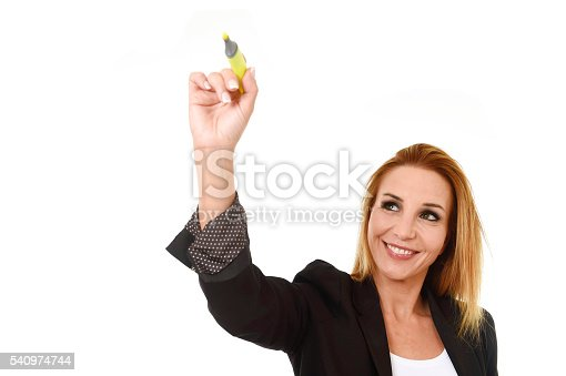 business portrait of attractive blond successful businesswoman holding marker writing or pointing to transparent glassboard screen isolated in white smiling happy and confident with copy space
